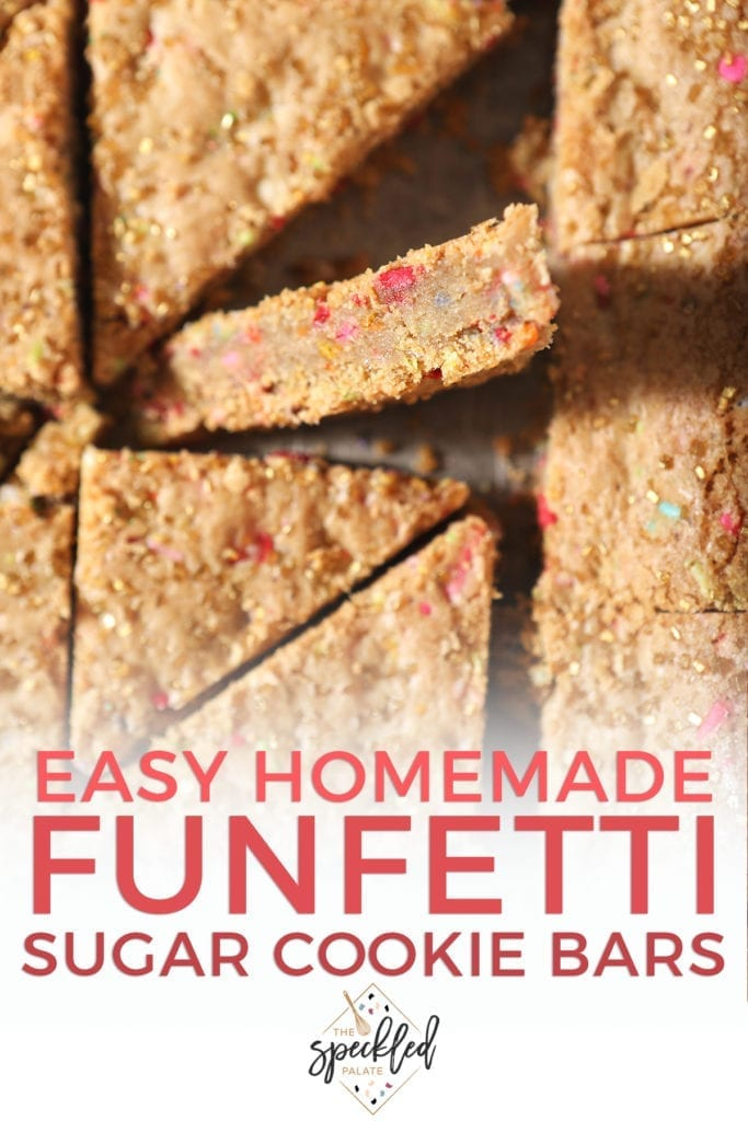 Sliced sugar cookie bars from above with text stating 'Easy Homemade Funfetti Cookie Bars'