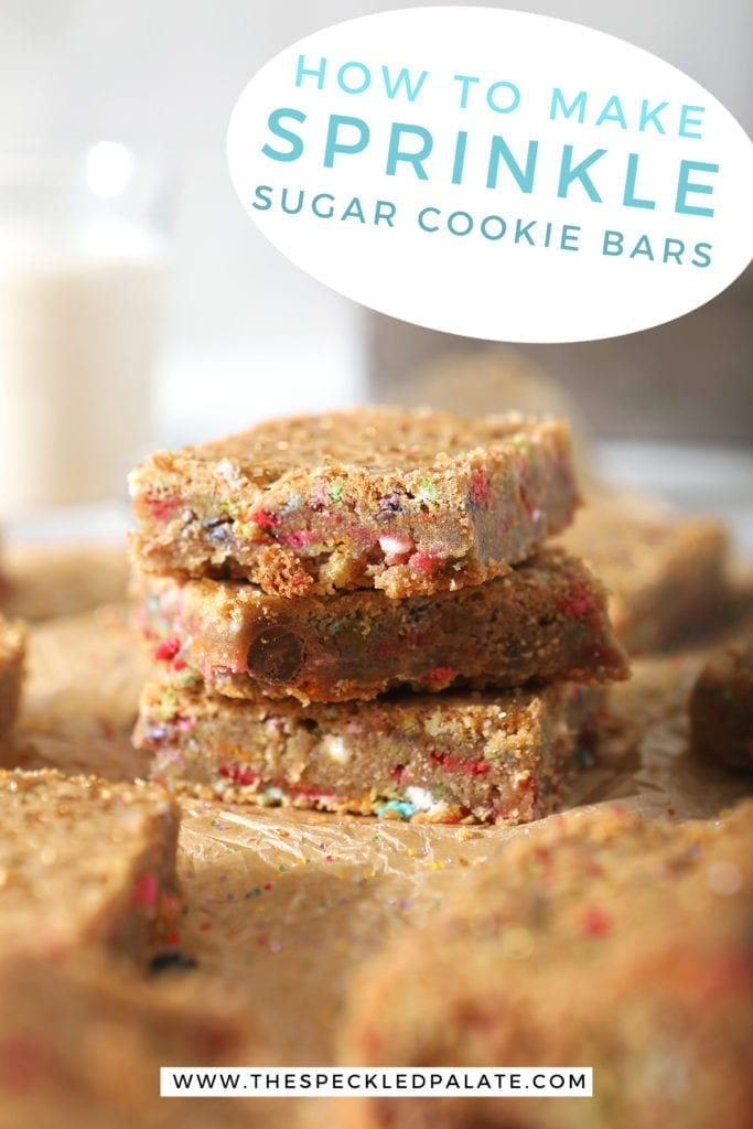 A stack of cookie bars with the text 'How to make Sprinkle Sugar Cookie Bars'