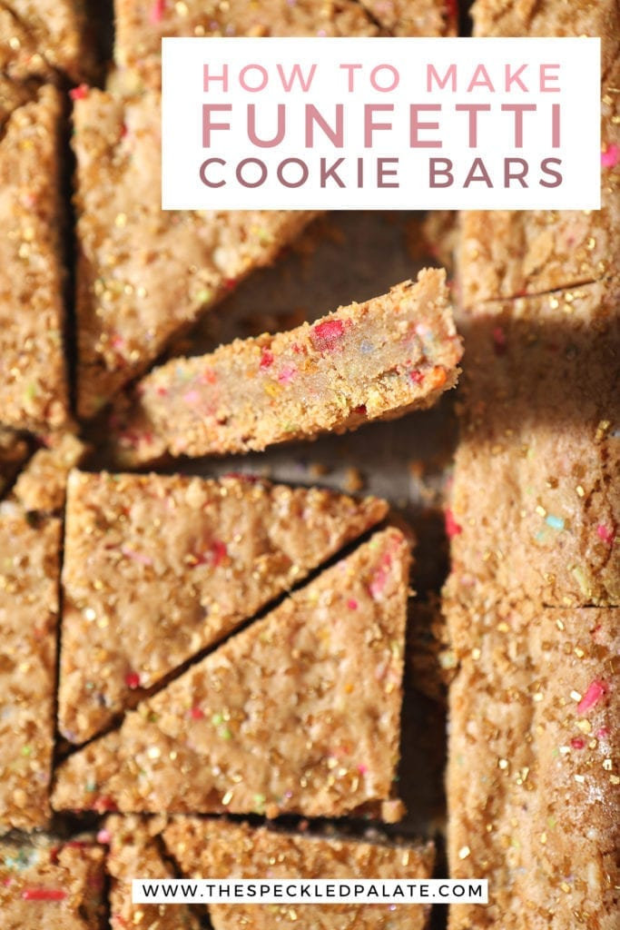 Sliced sugar cookie bars from above with text stating 'How to make Funfetti Cookie Bars'