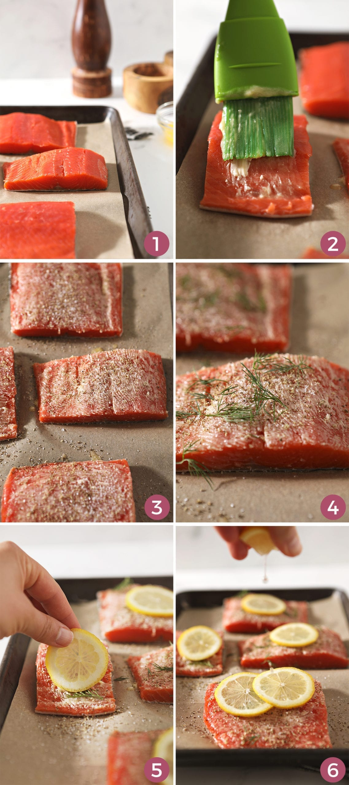 A collage of six images showing how salmon filets should look as you prepare them to bake in the oven, including brushing on butter, sprinkling with salt and pepper, adding fresh dill, adding a lemon round and a squeeze of lemon juice