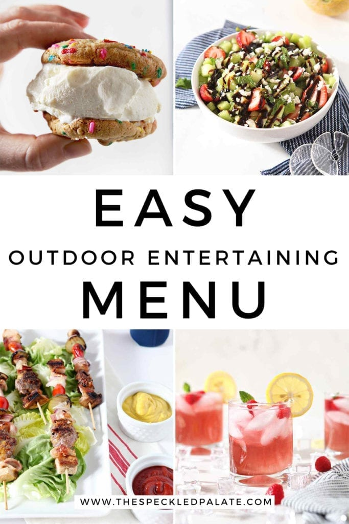 A collage of four images sharing an Easy Outdoor Entertaining Menu items