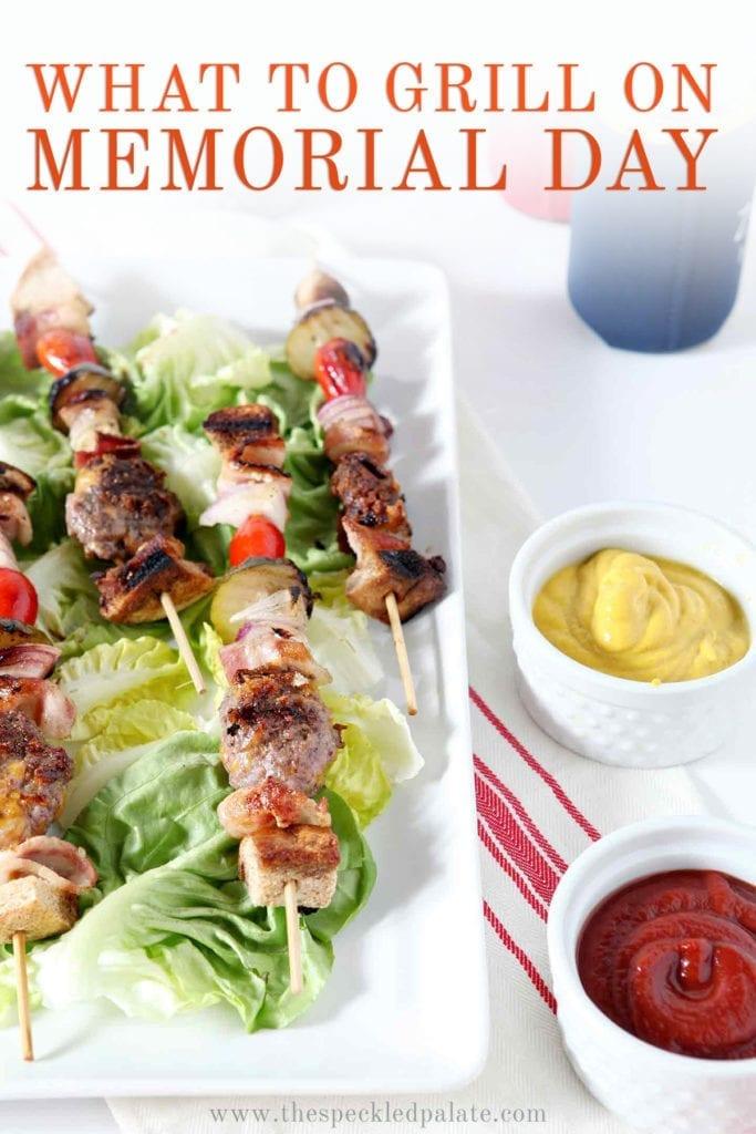 Cheeseburger kebabs on a platter, with Pinterest text