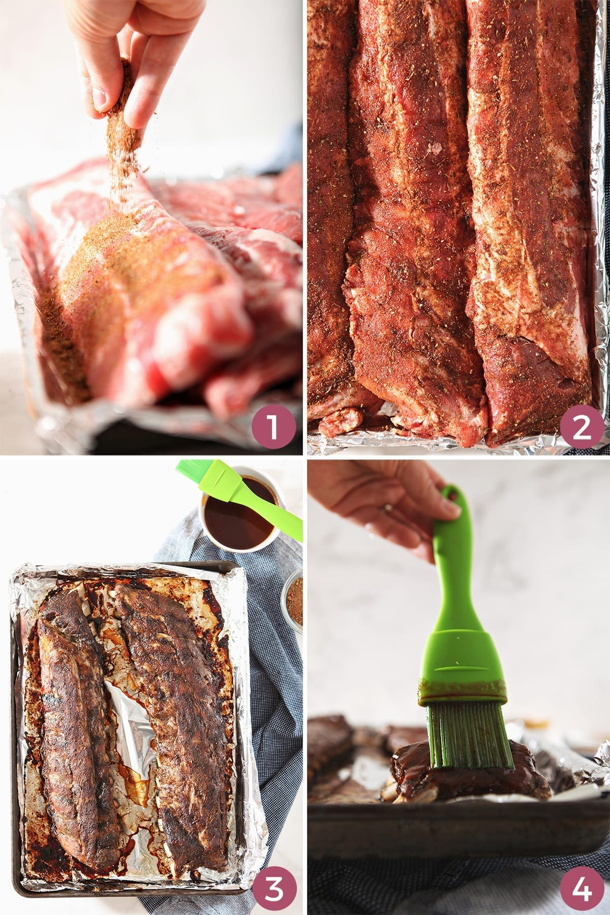 A collage of four images shows how to prepare Memphis ribs before and during their cooking process