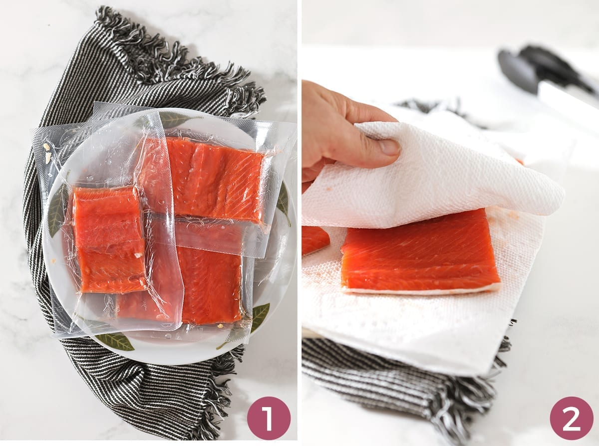 A collage of two images showing salmon filets in plastic wrap in a white bowl, a paper towel pats a salmon filet on a plate lined with another paper towel