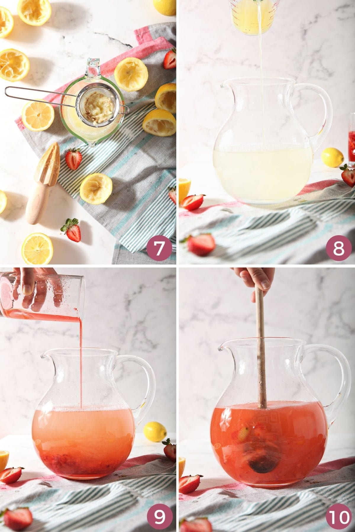 A collage of four images showing how to mix the lemonade