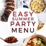 """Collage of four images with the text """"easy summer party menu"""""""