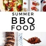 """Collage of four images with text """"summer bbq food"""""""
