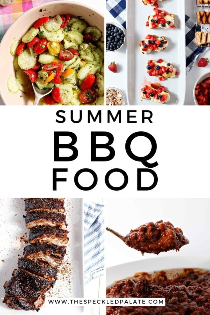 "Collage of four images with text ""summer bbq food"""