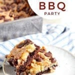 """A white plate holds two cheesecake bars with chocolate chips and a chocolate crust, with text """"easy summer backyard bbq party"""""""