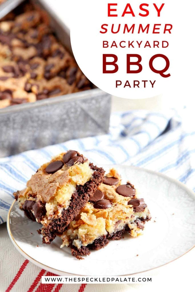 "A white plate holds two cheesecake bars with chocolate chips and a chocolate crust, with text ""easy summer backyard bbq party"""