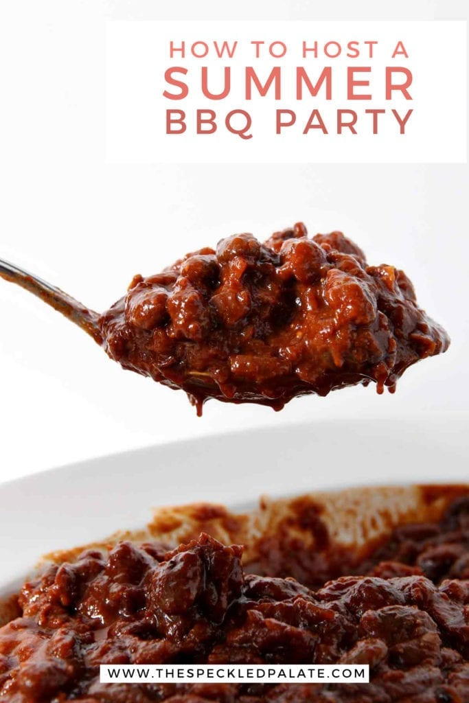 "A spoon holds a serving of beans over a container of them with the words ""how to host a summer bbq party"""