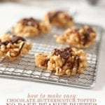 """Chocolate Peanut Butter No Bake Cookies sit on a silver grate on a marble surface before eating with the text """"how to make easy chocolate butterscotch topped no bake peanut butter cookies"""""""