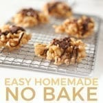 """Chocolate Peanut Butter No Bake Cookies sit on a silver grate on a marble surface before eating with the text """"easy homemade no bake peanut butter cookies"""""""