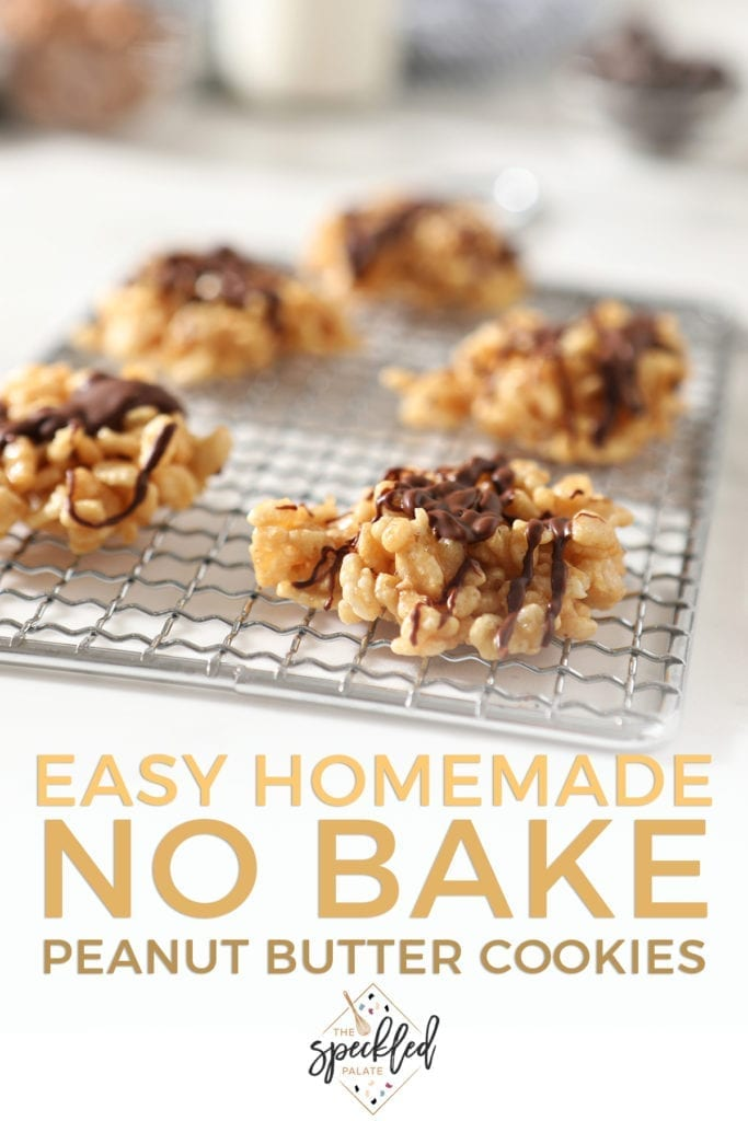 "Chocolate Peanut Butter No Bake Cookies sit on a silver grate on a marble surface before eating with the text ""easy homemade no bake peanut butter cookies"""