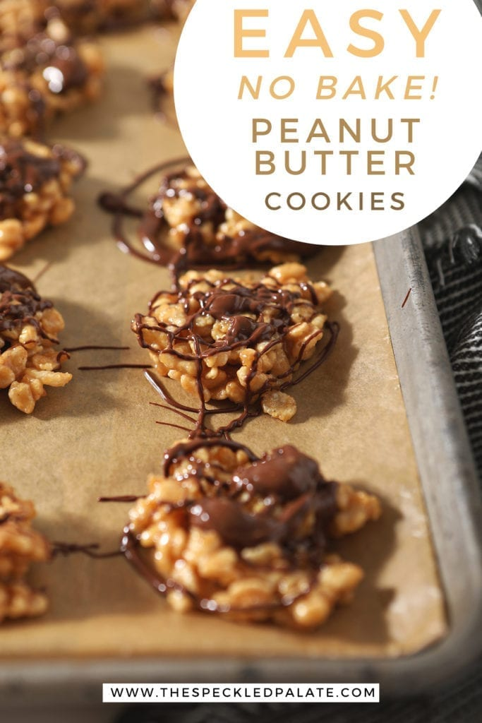 "No Bake Peanut Butter Cookies drizzled with chocolate and butterscotch on a baking sheet with the text ""easy no bake peanut butter cookies"""