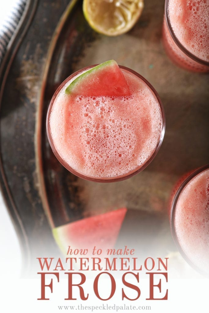 "Overhead of a slushy pink drink inside three glasses, garnished with watermelon, with text saying ""How to Make Watermelon Frose"""
