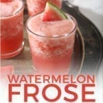 """Three glasses hold pink watermelon frose on a silver platter with text stating, """"Watermelon Frose"""""""