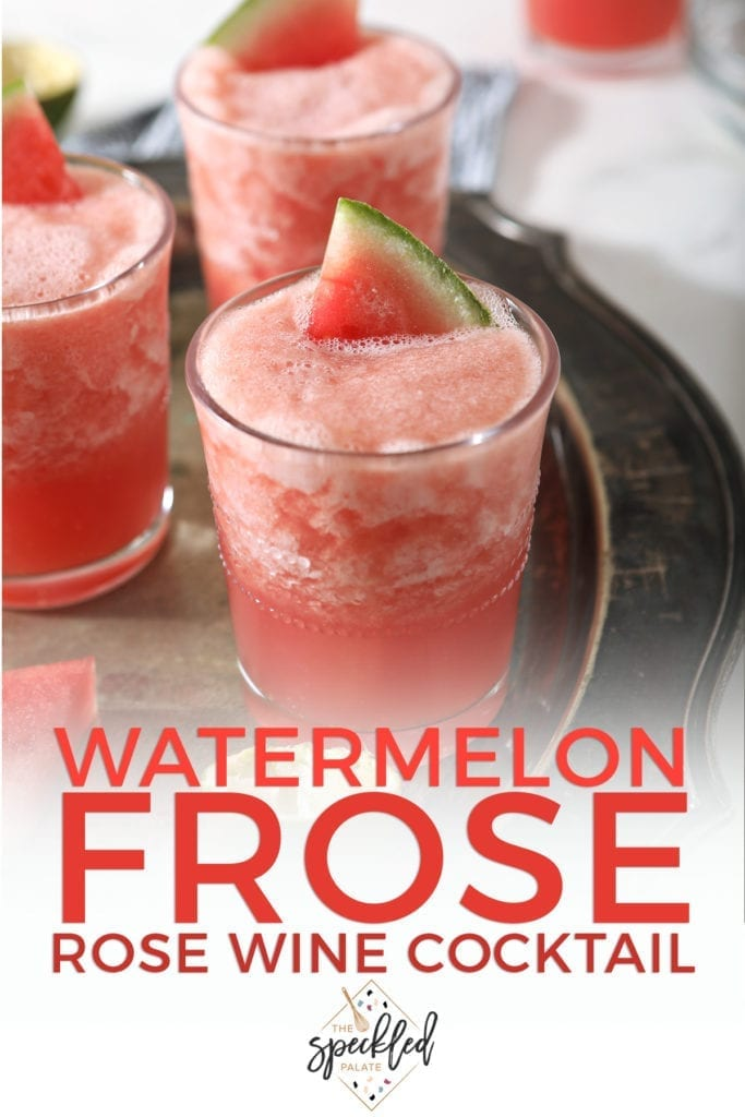 "Three glasses hold pink watermelon frose on a silver platter with text stating, ""Watermelon Frose"""