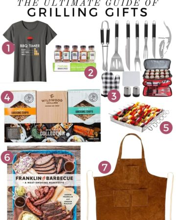 Collage of 7 gifts for grillmasters and grill lovers, including tools, apparel, a cookbook and more