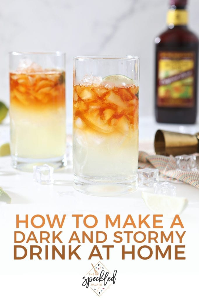Two highball glasses hold Rum Moscow Mules on marble with a rum bottle behind them and the text 'how to make a dark and stormy drink at home'