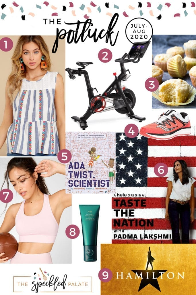 Vertical collage for the Potluck featuring clothing, a bike, a recipe and more