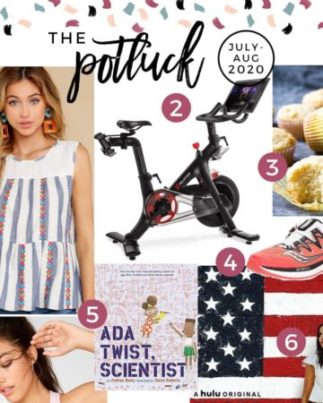 Square collage for the Potluck featuring clothing, a bike, a recipe and more