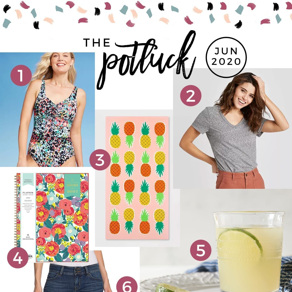 Square collage for the Potluck June 2020, featuring clothing and summery items