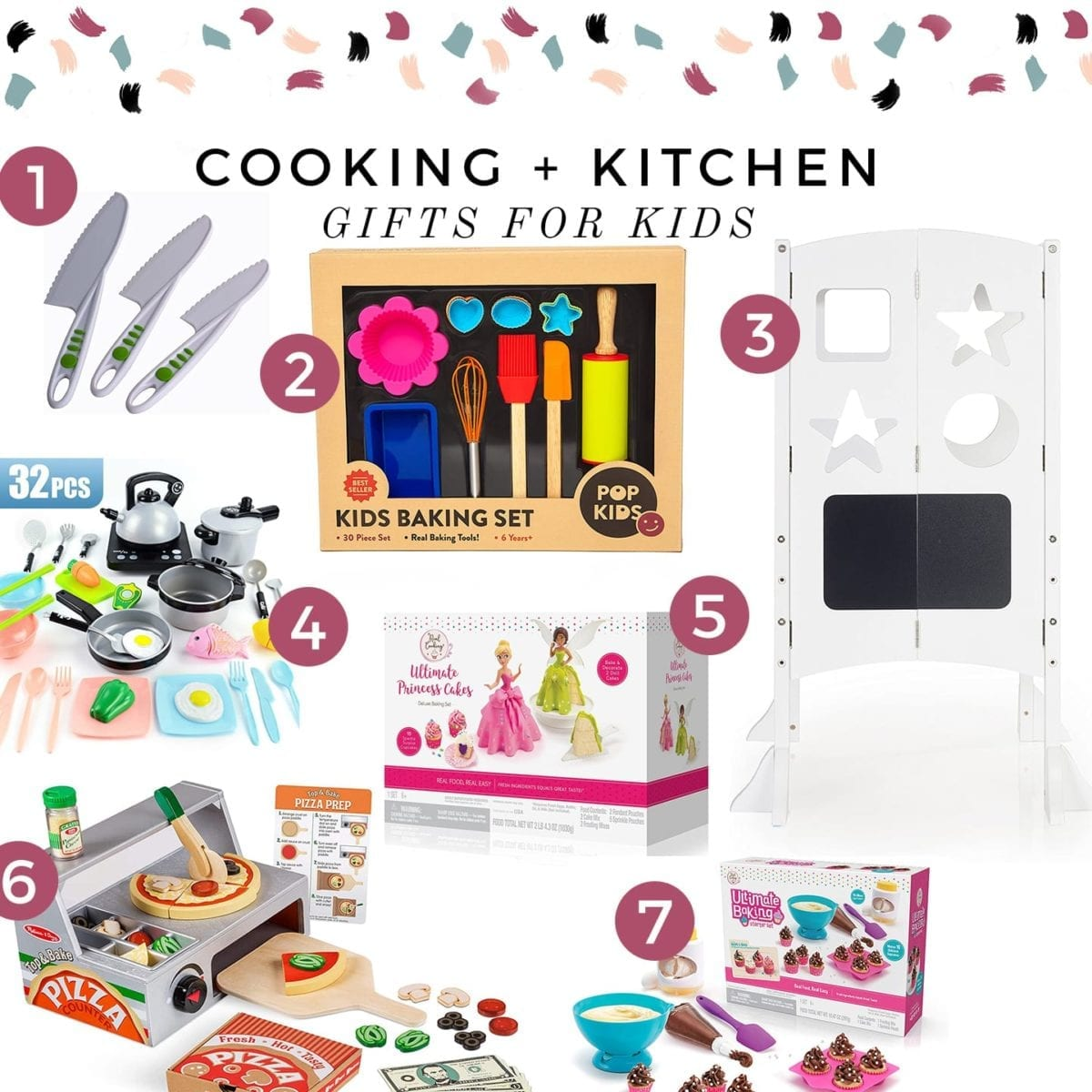 A collage including 10+ cooking gifts for kids