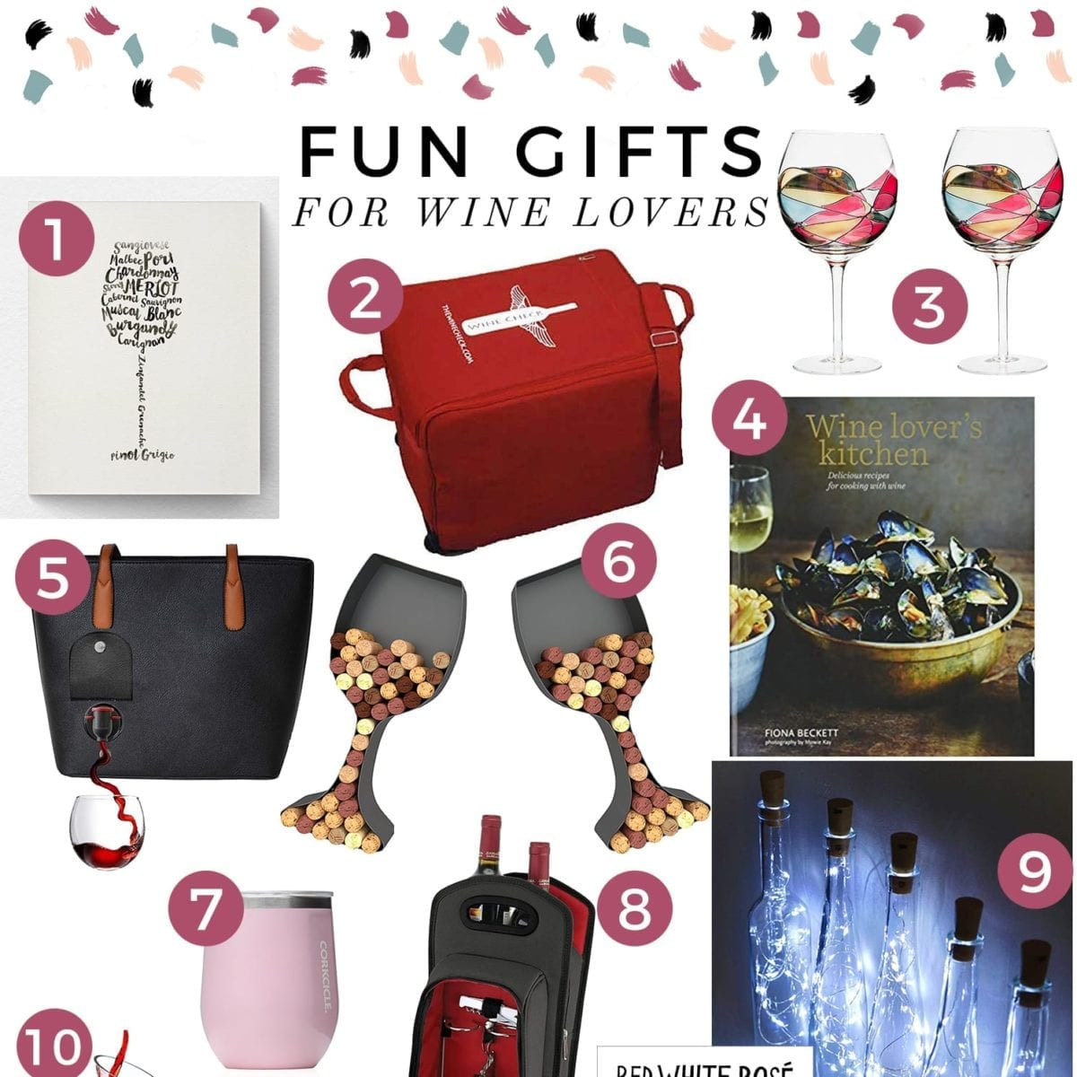 Square collage of 13 wine related gifts