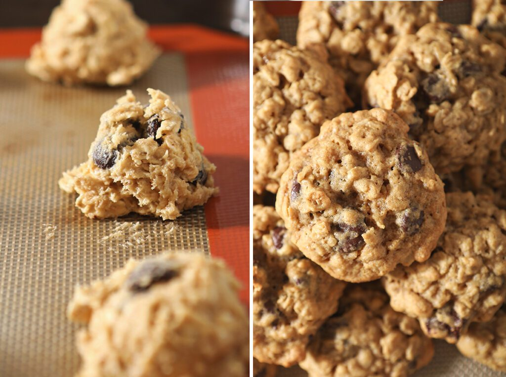 Collage showing Oatmeal Chocolate Chip Cookies before and after baking