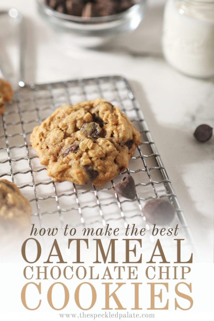 Close up of an Oatmeal Chocolate Chip Cookie on a wire grate with chocolate chips and the text 'how to make the best oatmeal chocolate chip cookies;