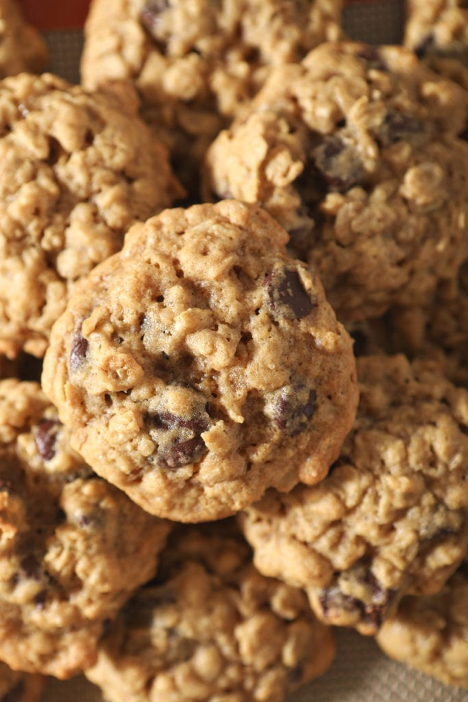 Close up of a stack of Oatmeal Chocolate Chip Cookies