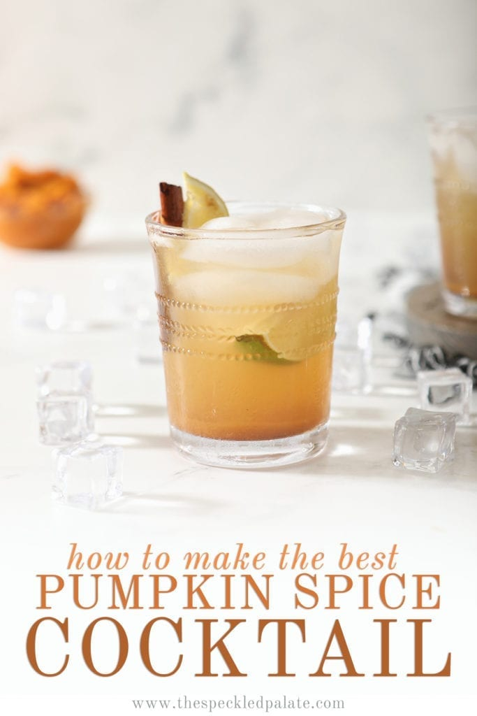 A lone Pumpkin Spice Mule sits on marble with a bowl of pumpkin puree behind it with the words 'how to make the best pumpkin spice cocktail'