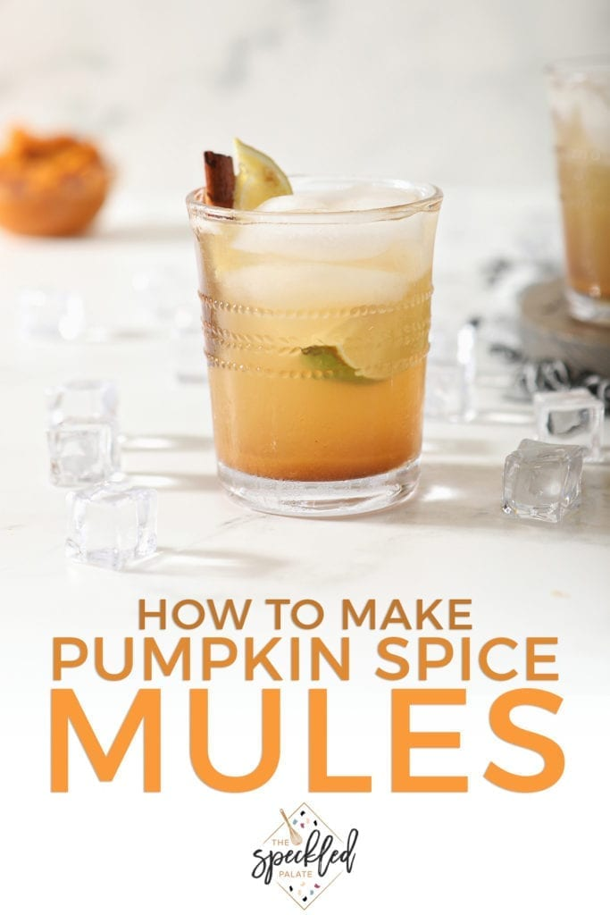 A singular glass of Pumpkin Spice Mule on marble with a bowl of pumpkin puree behind it with the words 'how to pumpkin spice mules'