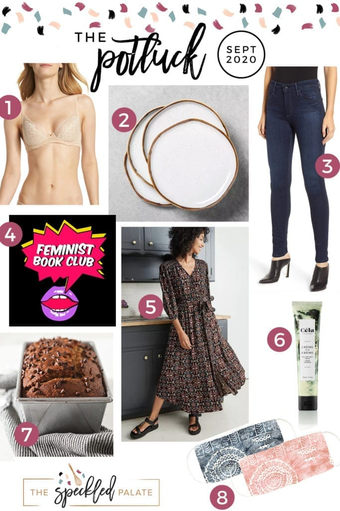 A collage of beauty, clothing and kitchen items on The Speckled Palate's September 2020 love list