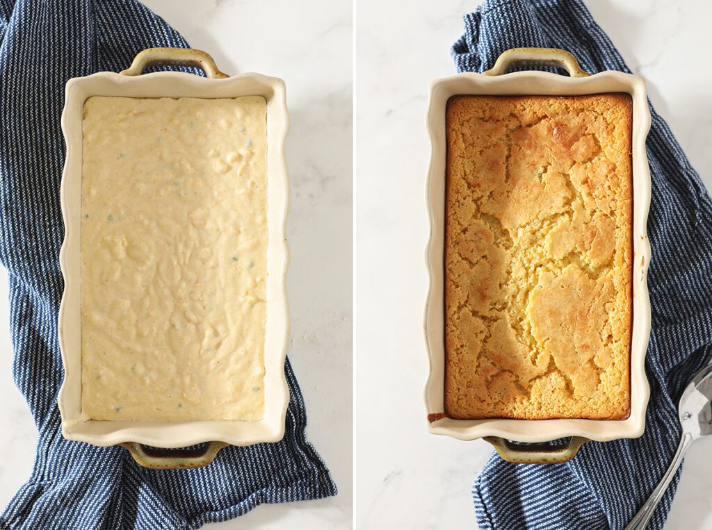 Collage showing Cornbread Casserole before and after baking