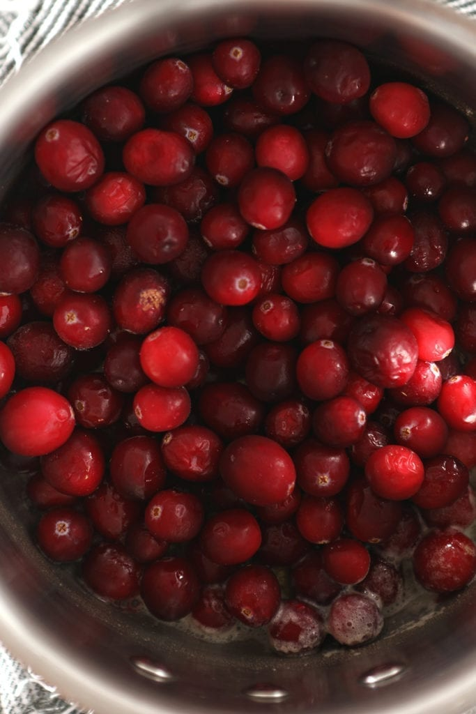 Close up of cranberries in a pan