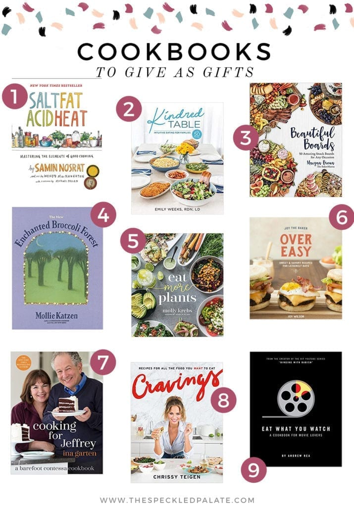 Collage of nine cookbooks with the text 'cookbooks to give as gifts'