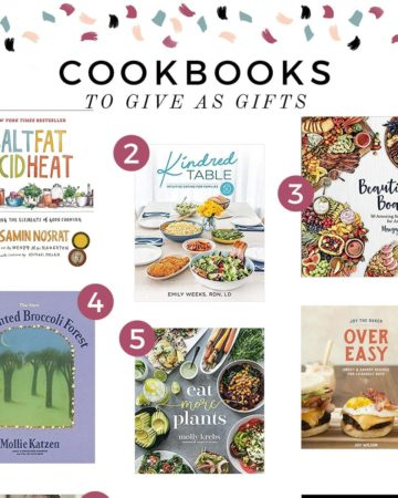 Square collage of six cookbooks with the text 'cookbooks to give as gifts'