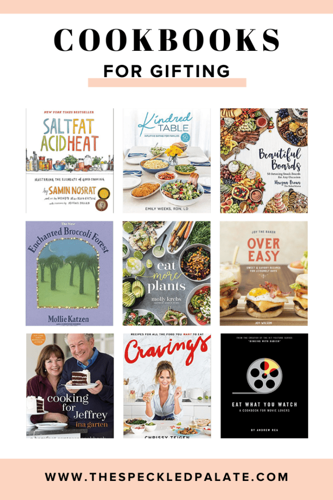 Collage of nine cookbooks with the text 'cookbooks for gifting'