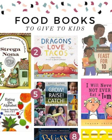 A square collage of six images showing the covers of nine food-related books for kids of all ages