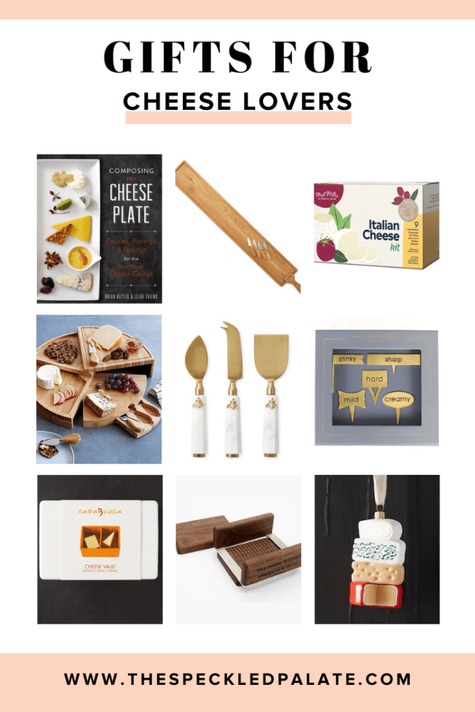 A collage of nine gifts for cheese lovers to enjoy