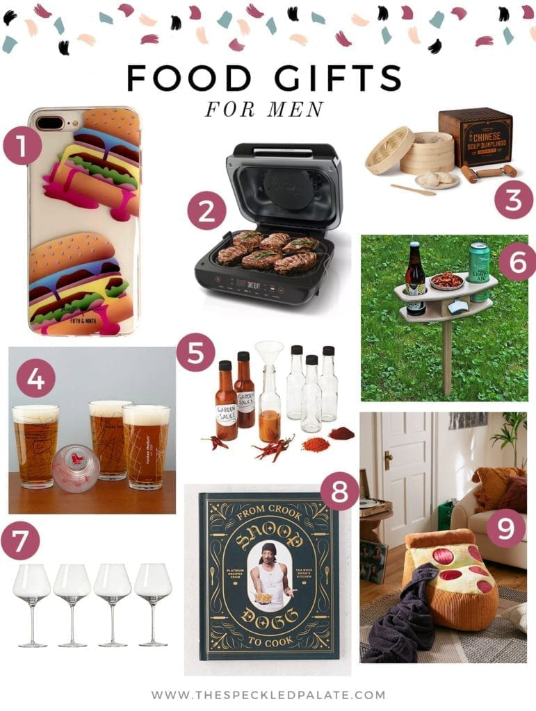 Collage of nine products for male foodies in everyone's life