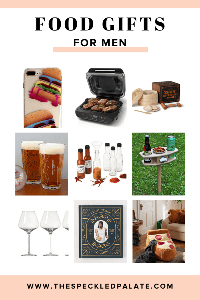 Collage of nine images for food gifts for men