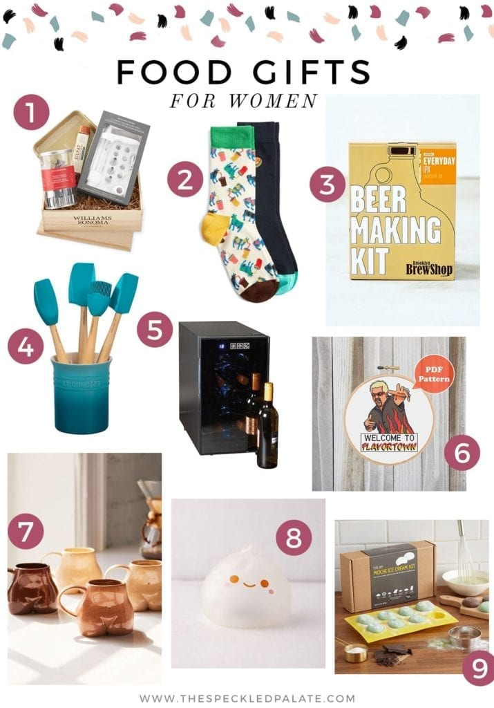 Collage of nine images showing food (and food-related) gifts for women