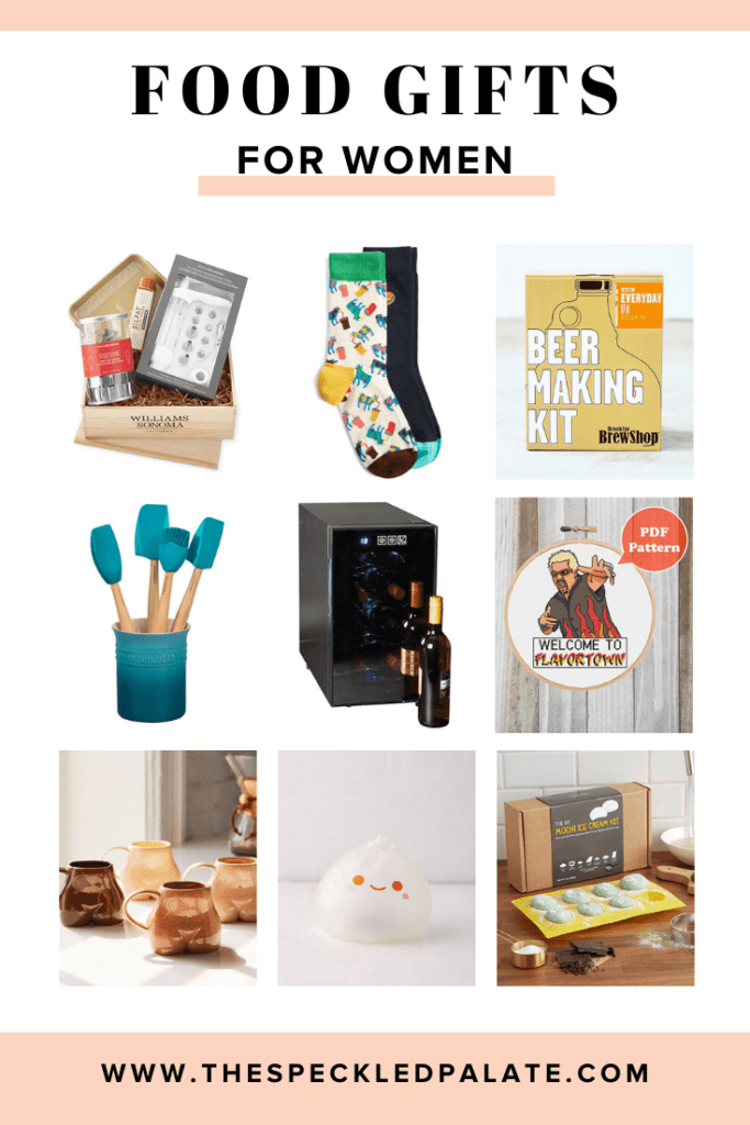 A collage of nine images for food gifts for women