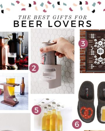 Square collage of six images of products with the text 'the best gifts for beer lovers'