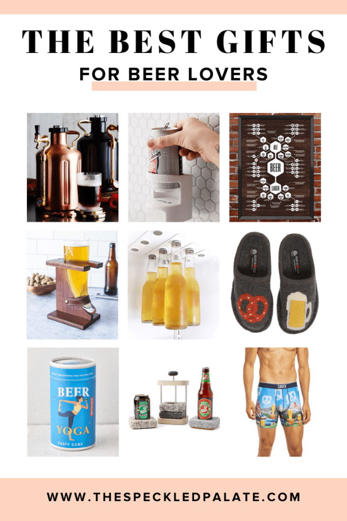 Collage of nine images of products with the text 'the best gifts for beer lovers'