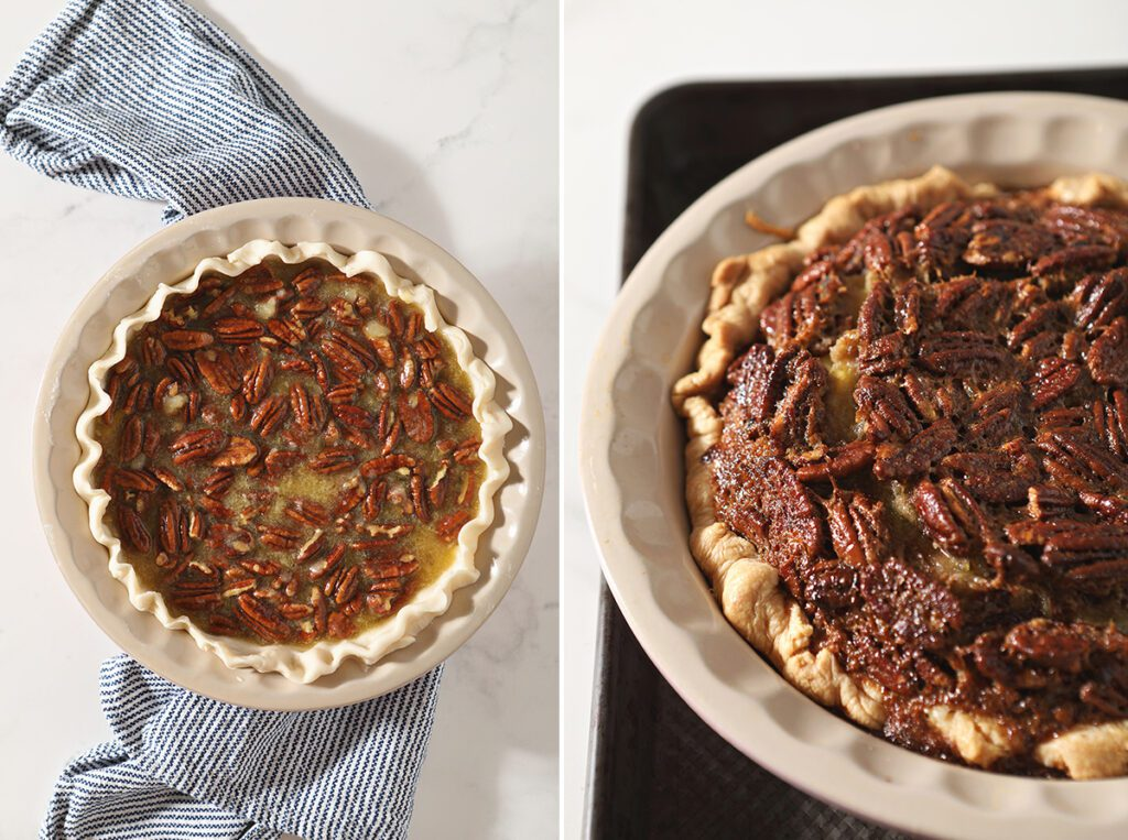 Collage showing pecan pie with bourbon before and after baking