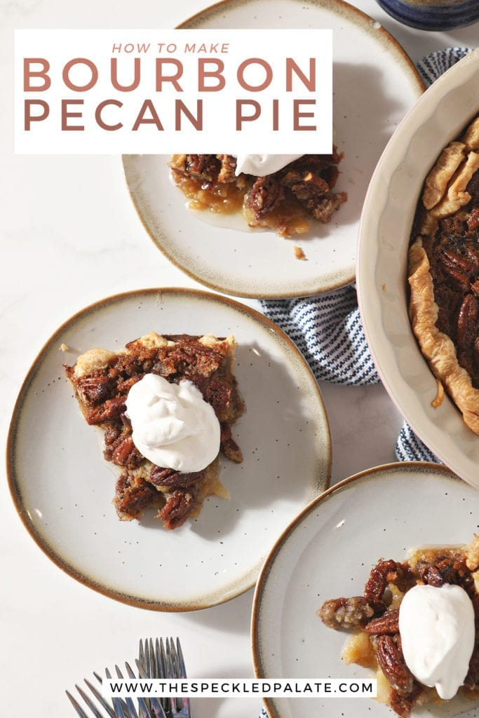 Close up of three slices of pie on white plates from above with the text 'how to make bourbon pecan pie'